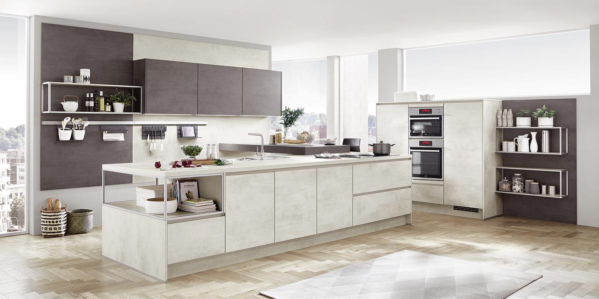 Küche mit freistehender Kochinsel Nobilia Riva LineN ca. 120 / 214 x 117 / 180 cm, Front Beton ...